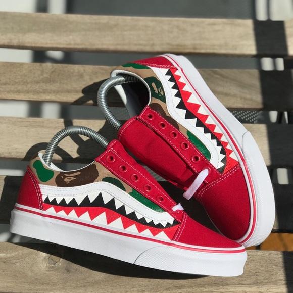 Custom Painted Bape Vans Shoes Bape Old Skools Produkter Tilpasset Bape Camo Poshmark